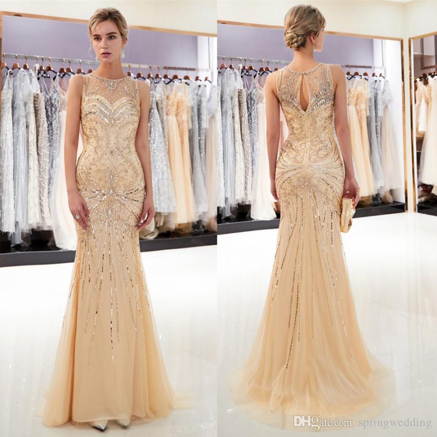 Gold Gray Luxury Beaded Prom Dresses Mermaid Floor Length Tulle ... 77180d6851de