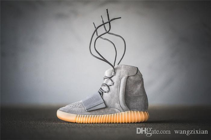 Men Basketball Shoes 750 Light Grey Gum Glow In The Dark Kanye West Shoes Sneakers