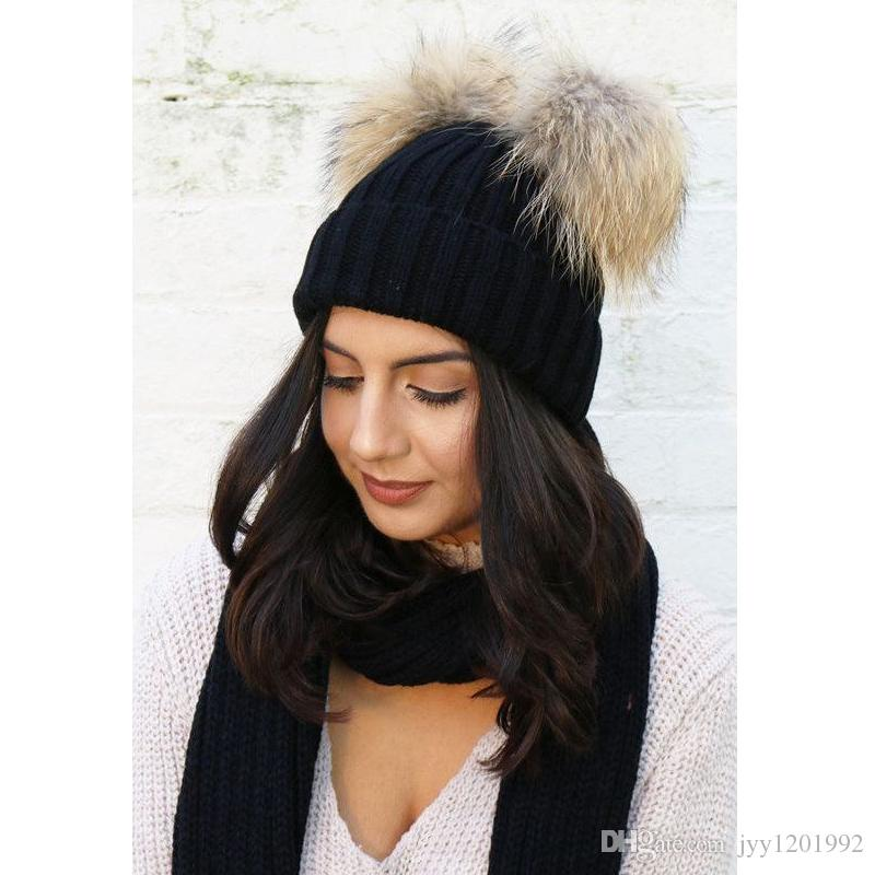 8aea9ac4e91 Winter Knitted Double Fur Beanies For Women Wool Chunky Hats Faux Fur Pom  Pom Hats Girls Bobble Caps Bonnet Baby Beanies Beanie Hats For Women From  ...
