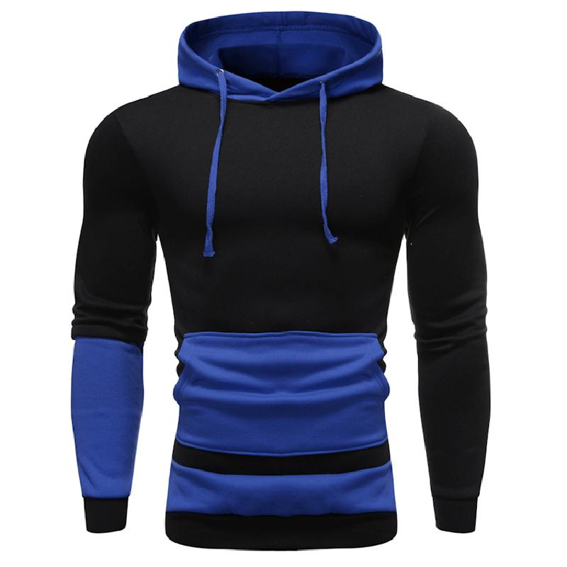 Hoodies dos homens Outono Casual Tops Contraste Cor Hoodies Tops de Manga Longa Slim Fit Casual Sports