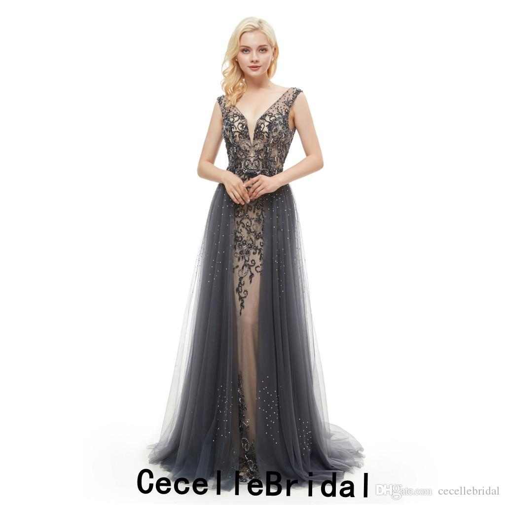 43ef7d83a8 2019 Grey Mermaid Long Luxury Evening Dresses V Neck Sleeveless Overskirt  Major Beading Teens Formal Evening Party Gown Prom Dress Plus Size Evening  Dress ...