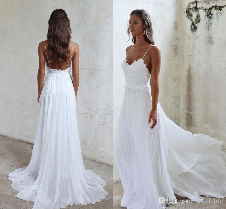8724b2bbed0a9 2019 Custom Made Simple Beach Wedding Dresses Boho A Line Sleeveless Lace  Applique Backless Bridal Gowns Court Train