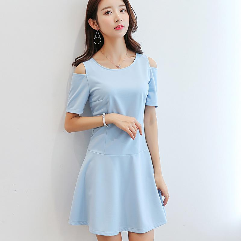 Summer Dress Women Clothing Bodycon Dresses Korean Cute Hollow Out Short  Sleeve Dress Fashion Sky Blue Dress Student Vestidos Summer Cocktail Dresses  Dress ... b4ed371a19a5