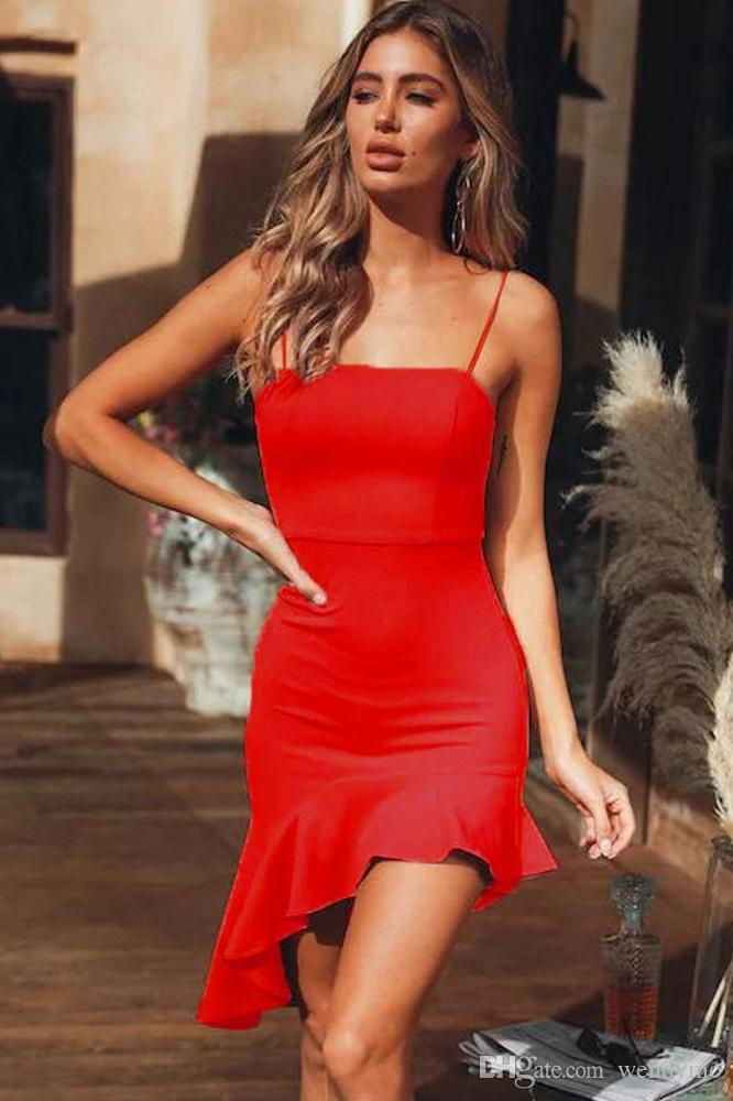 4093dce4194 2019 Off Shoulder Ruffle Bodycon Evening Party Midi Fishtail Dresses For  Women Red From Wendymo