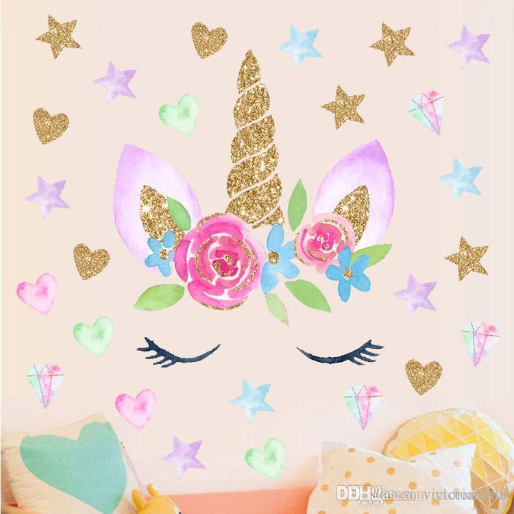 Hot sell Romantic fairy Unicorn Stars Wall Stickers For Girls Bedroom  Flowers Wall Decals Decor kids gift