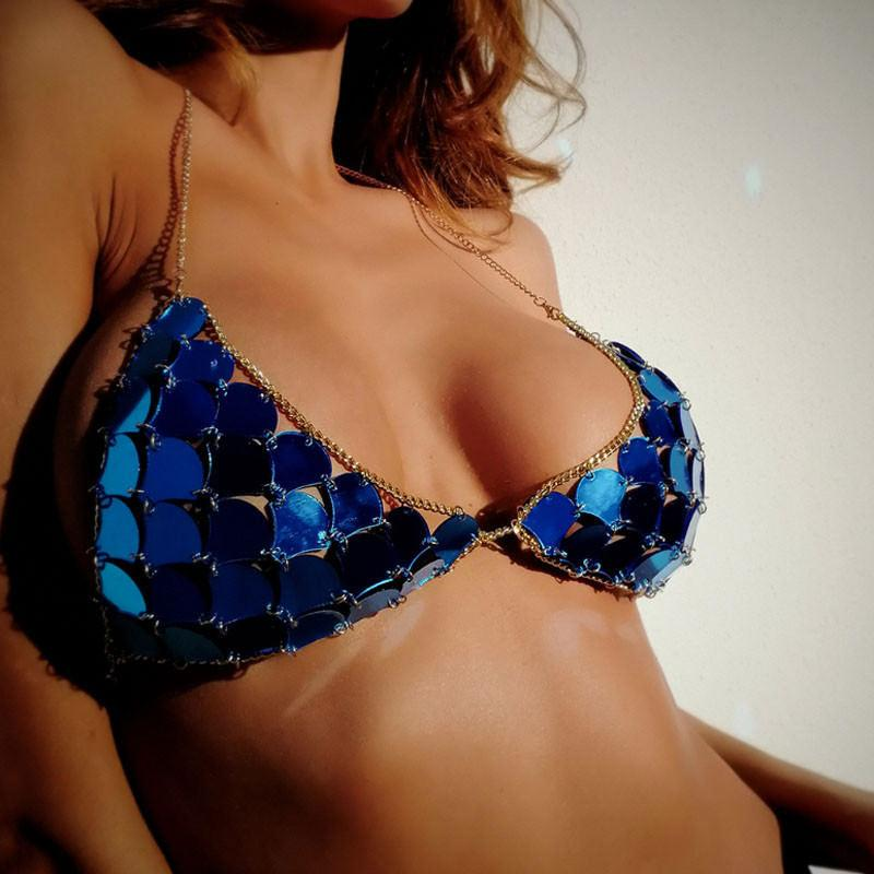Women Bikini Tops Colorful Sequins Swimwear Swimsuit Push-up Bra Beachwear Biquini Brazilian Mermaid Swimming Suit Tops