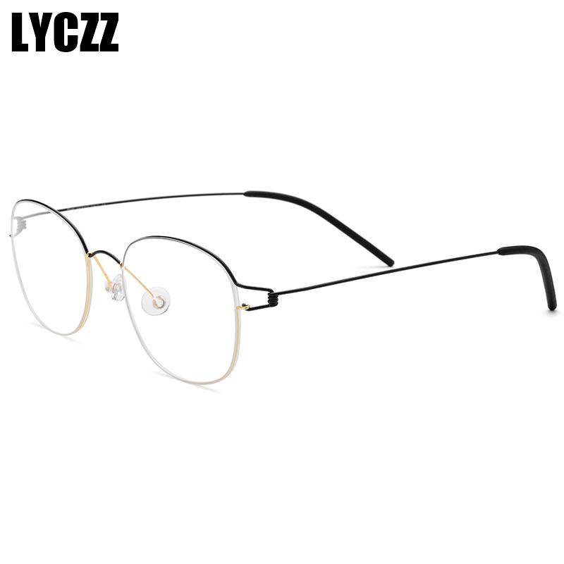 92f04355d49f6 LYCZZ Titanium Alloy Square Myopia Glasses Frame Men Ultralight Square  Prescription Eyeglasses Women Metal Full Optical Eyewear Eyewear Frames  Cheap Eyewear ...