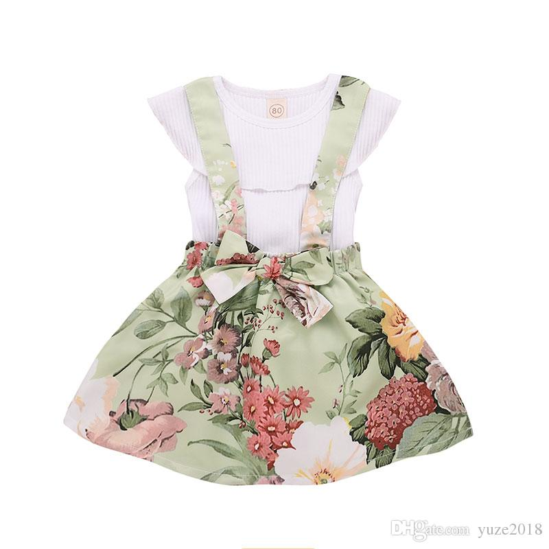 e0e7d0198 Baby girls suspender Skirt outfits romper tops+2019 new Summer Kids Floral  Ruffled T Shirt+ 2pcs set kids Clothing Sets