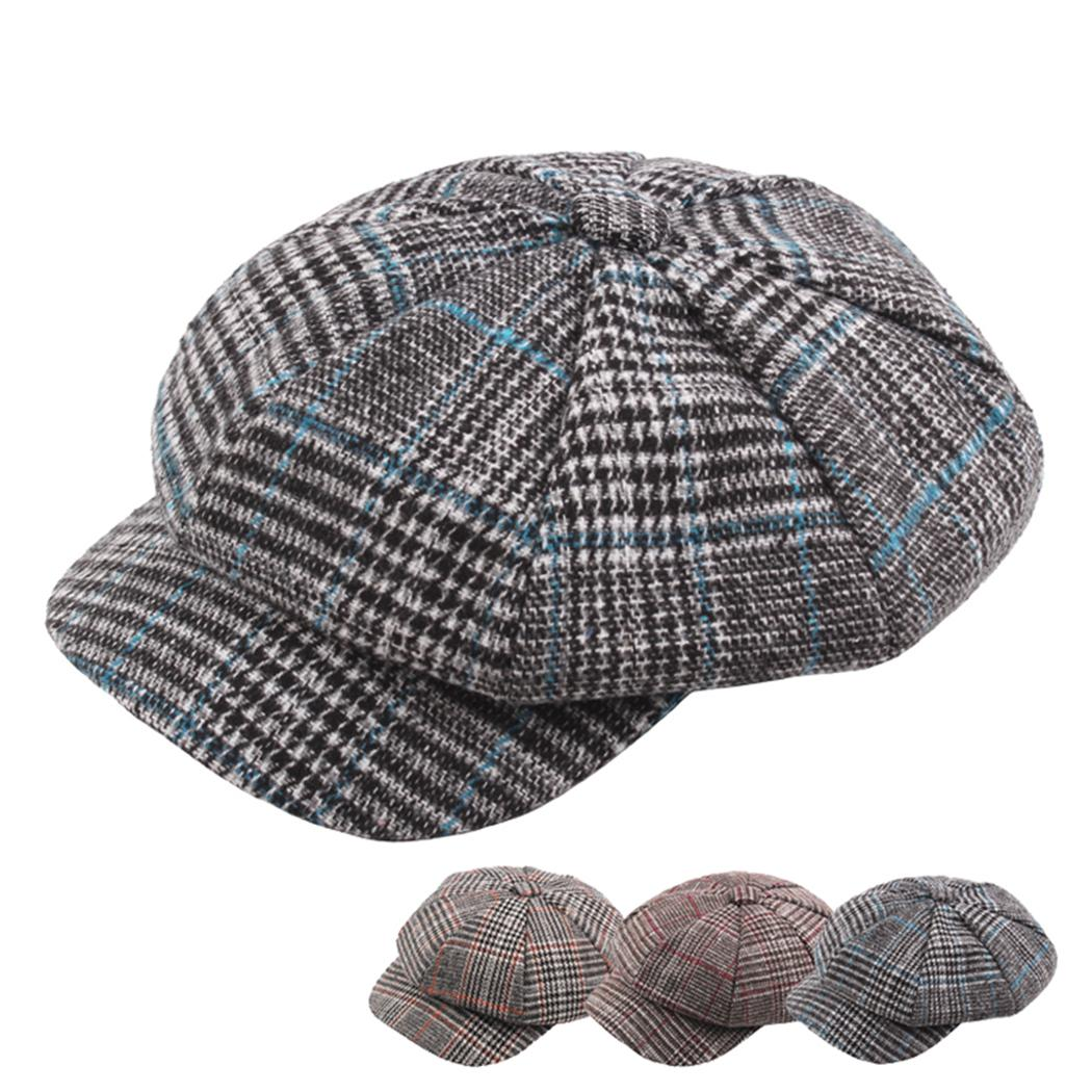 0a3dfebc104c0 2019 Women Vintage Plaid Beret Wool Knitted Hats Winter Spring Fashion Newsboy  Cap England Ladies Octagonal French Hat Baret Boina L0 From Jutie