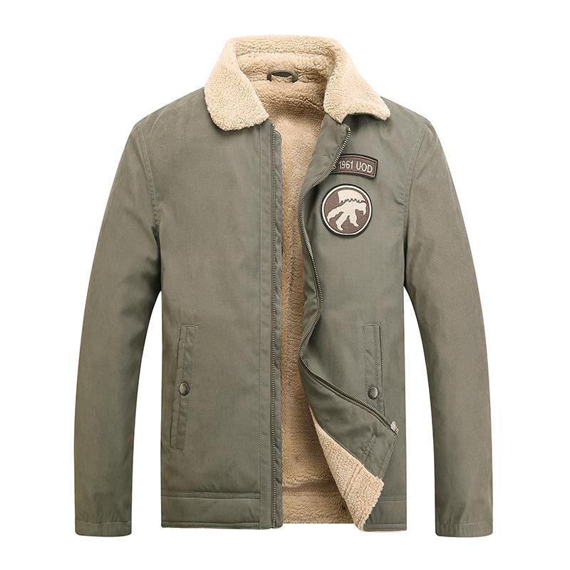 c99fb1577 Bomber Jacket Men Air Force Pilot Warm Male Fur Collar Army Jacket Tactical  Mens Coats Brand Clothing