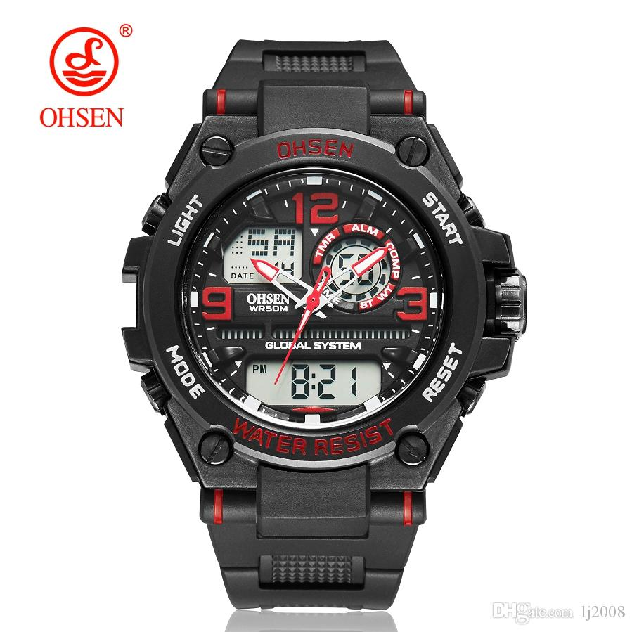 1ef49a365c5 OHSEN Luxury Sports Watch Men Analog Digital Military Silicone Army Sport  Red LED Wrist Watches Men Relogio Masculino For Gifts Waterproof Watch  Watch Deals ...