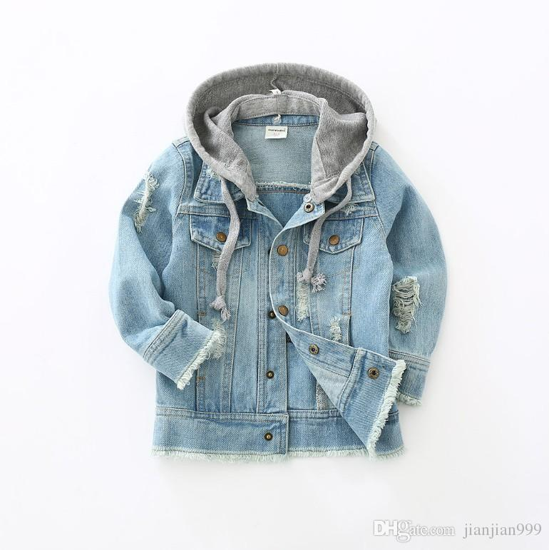 78c25ee43 Children's Denim Jacket 2019 Spring And Autumn New Male Baby Outerwear  Girls Autumn Hooded Shirt Tide Fashion Comfortable