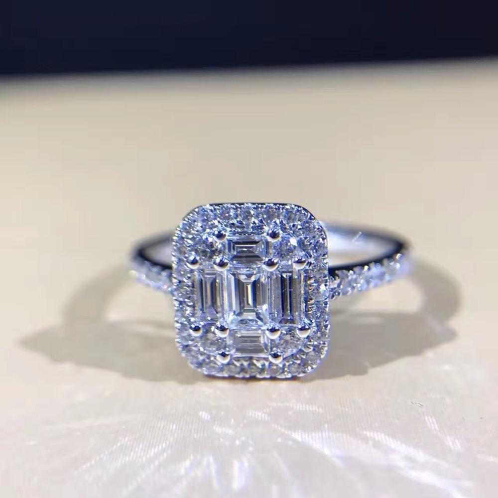 02935af7d967 Compre LASAMERO 0.569CTW Esmeralda Forma De Baguette Diseño 18k Oro Blanco  Halo Acentos De Diamantes Naturales Anillo De Promesa De Compromiso De ...