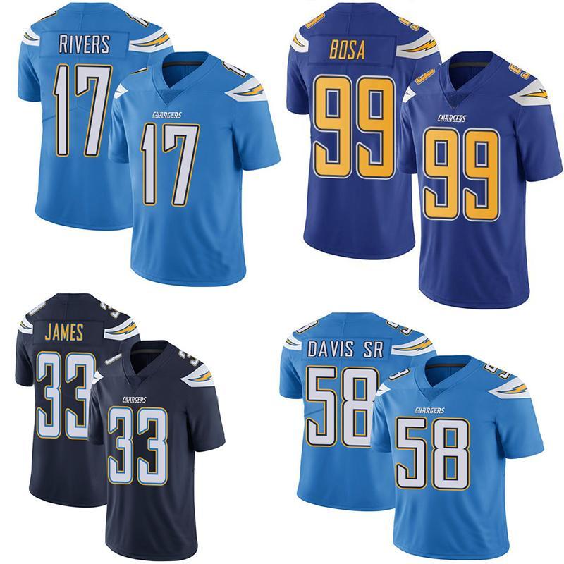 new concept 83fe4 4768b 17 Philip Rivers Los Angeles Football Jerseys Chargers 99 Joey Bosa 33  Derwin James 58 Thomas Davis Sr Untouchable Limited Jerseys