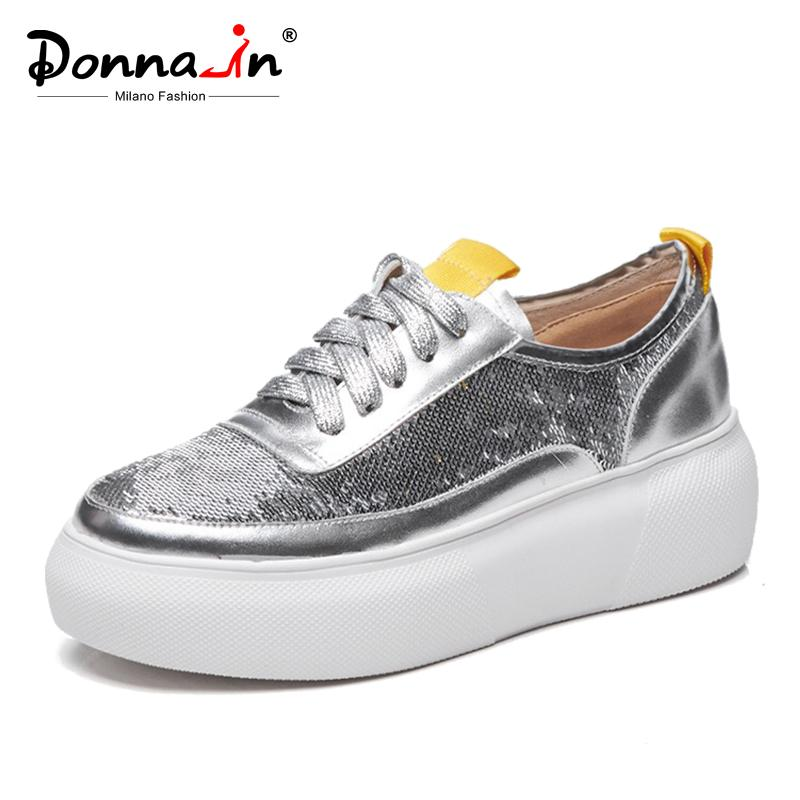 Donna-in 2019 New Spring Women Flats Creepers Platform Shoes Genuine ... 3c65dfffcad9