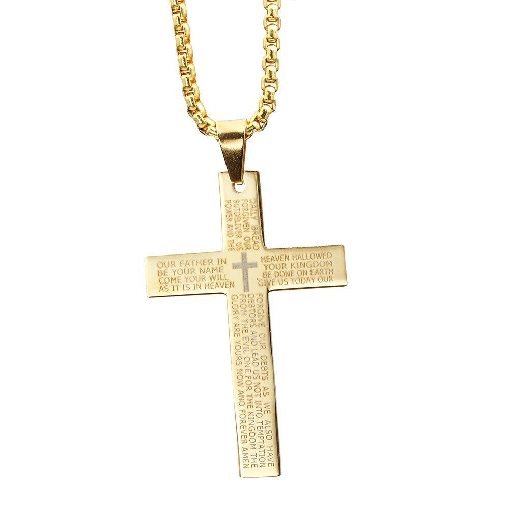 Cross Necklaces Christian Bible Prayer Stainless Steel Pendant Necklace For  Women Men Necklace