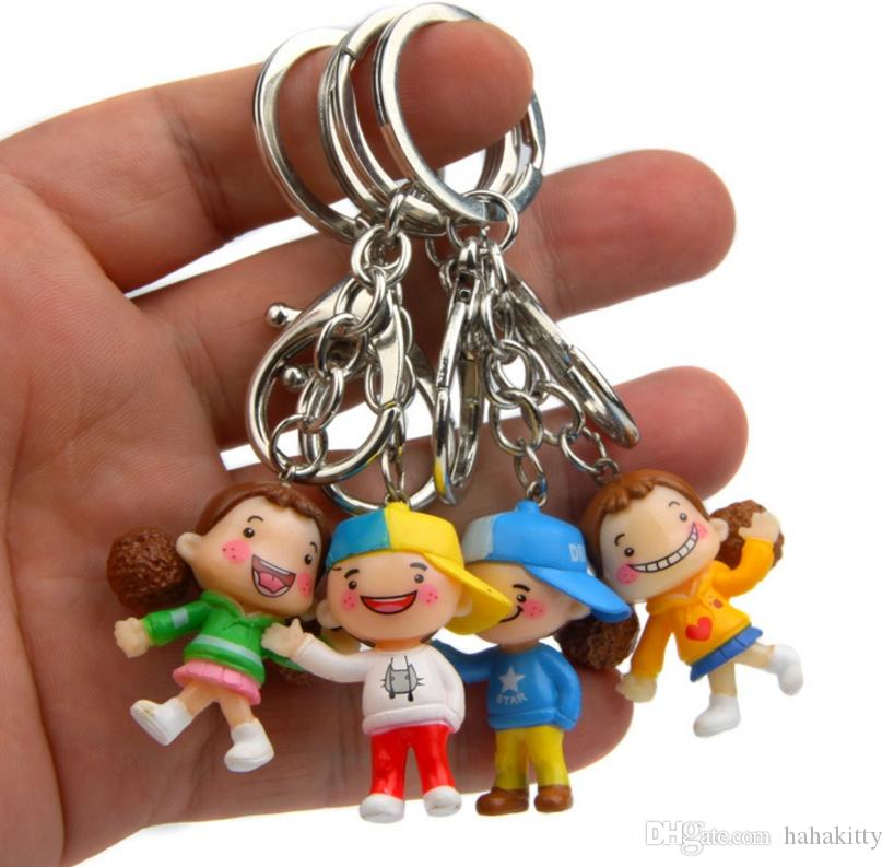 HYS348 4cm Smile Boy Doll Keychain Handmade Cute Lover Doll Keyring Mini Small Car key Ring Couple Bag Pendant Company Party Gift 4Pcs/pack