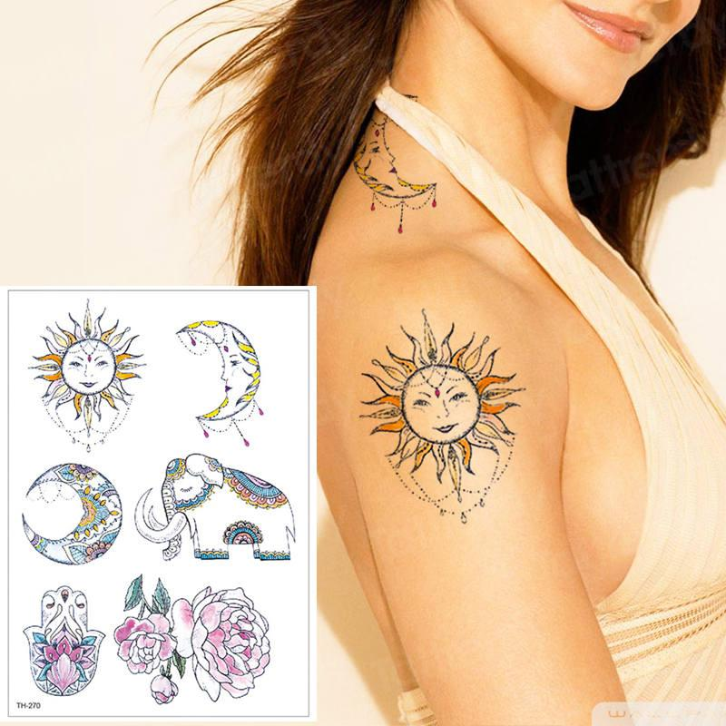 b2f94fa08 Temporary Tattoo Waterproof Women Tattoo Sun Moon Sticker Bikini Hand Body  Art Lotus Flower Water Transfer Stickers Girl Make Temporary Tattoo Ink  Making ...