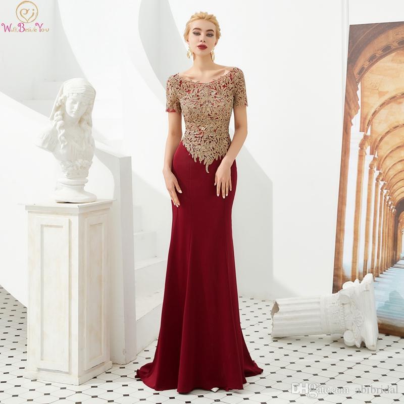 b4c7872005af8 Satın Al Vintage Koyu Kırmızı Anne Gelin Elbiseler 2019 Muhteşem ...
