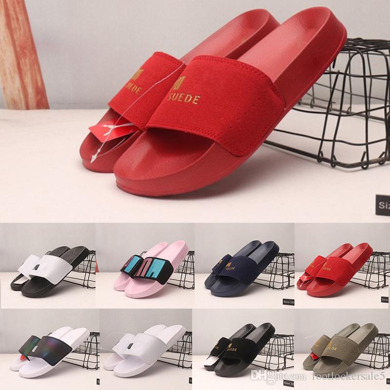 f7266e76ba8 New Leadcat Suede Mens Flip Flop Designer Sandals Luxury Slides Peep Toe  Slippers Summer Black White Red Beach platform Sandals