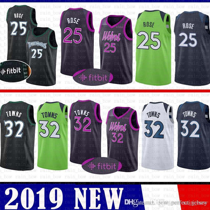 separation shoes 4222c c447a 32 Karl-Anthony # Towns Basketball Jerseys CHEAP SALE 25 Derrick # Rose  Minnesota Jersey 2019 nEW Timberwolves retro MENS Youth Kid's