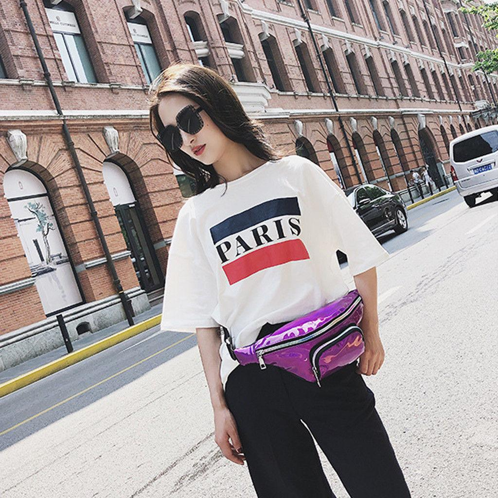 2019 New Fashion Women Squins Waist Bags Women's Fanny Pack Shiny Leather Pouch Belt Waist Bum Bag Phone Packs