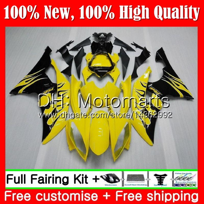 Cuerpo para YAMAHA YZF600 YZFR6 08 09 10 11 YZF-R600 91MT11 YZF 600 R 6 Llamas negras YZF-R6 YZF R6 2008 2009 2010 2011 Fairing Body Kit
