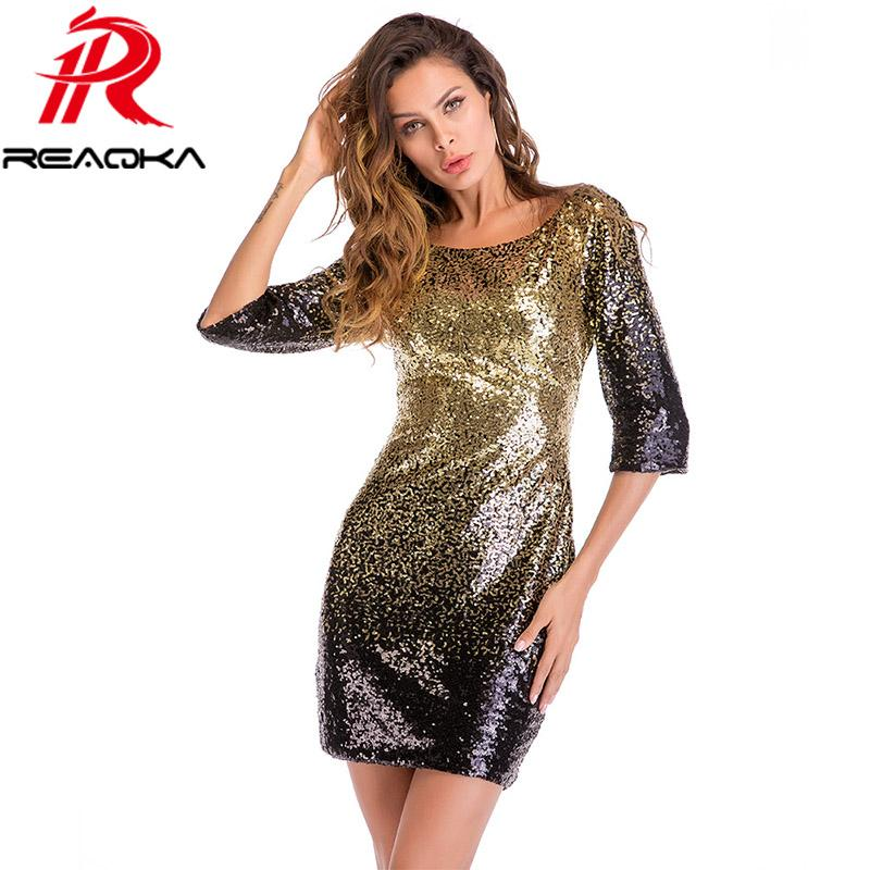 2c881db56db 2019 2018 New Summer Elegant Bodycon Black Gold Sequin Dress Women O Neck  3 4 Sleeve Backless Sundress Sexy Mini Evening Party Dress From Z6241163