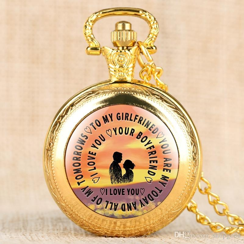 Luxury Quartz Pocket Watch for Women,To My Girlfriend Series Pocket Watches for Ladies,Pendant Watch Link Chain as Valentine's Day Gift