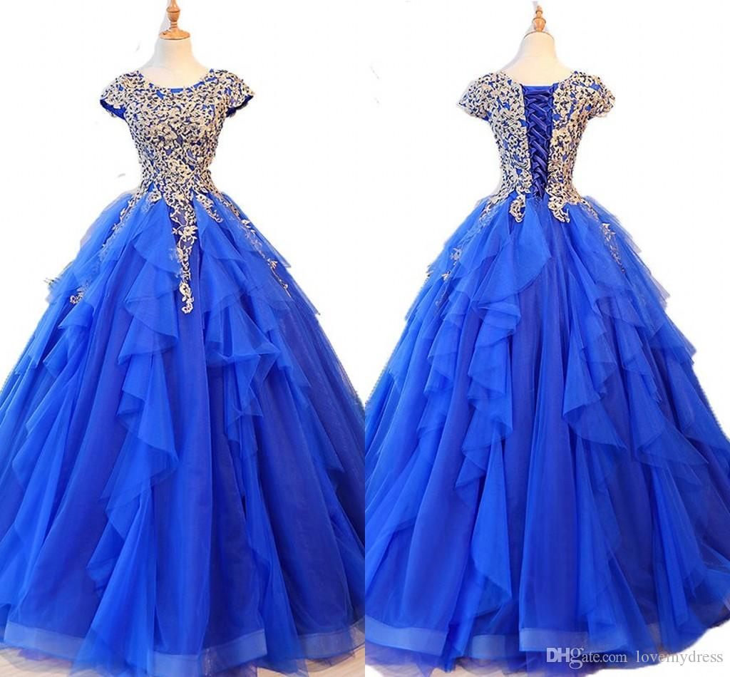 26ee72971cf Gold Blue Ruffles Sweet 16 Dresses 30D Floral Applique Beaded Short Sleeve  Tulle Prom Dress Ball Gowns Quinceanera Dress For 15 Years Girls Cheap  Formal ...
