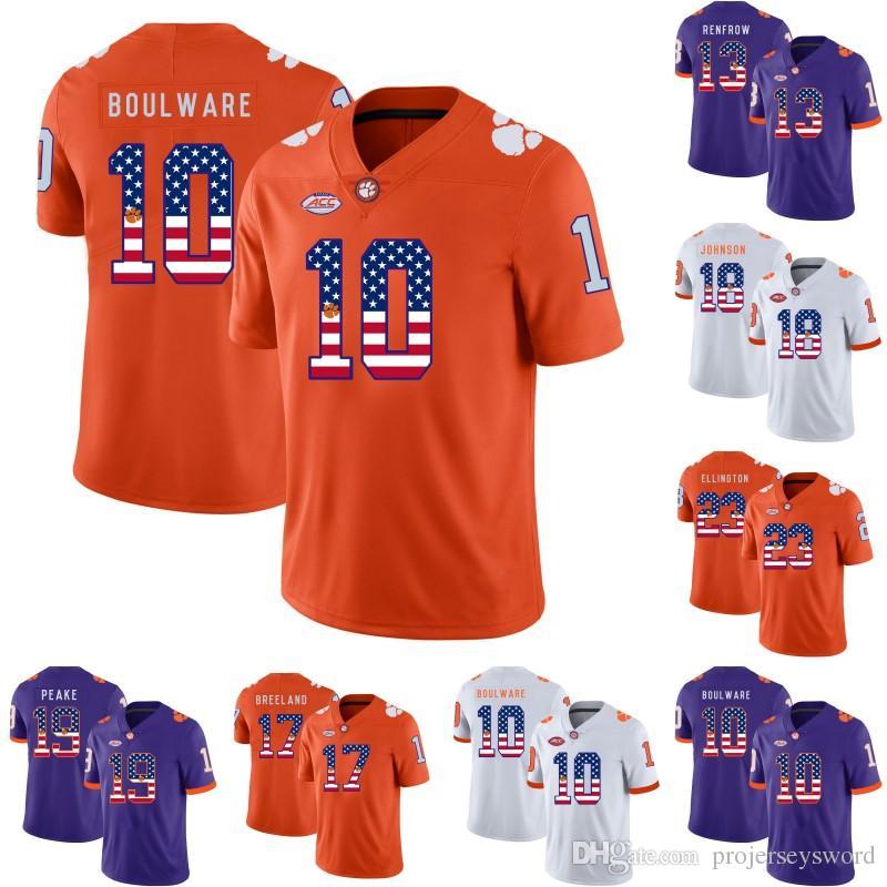 size 40 e85dd 7119a Mens Clemson Tigers Flag Jersey 10 Ben Boulware 13 Hunter Renfrow 17  Bashaud Breeland Jadar Johnson Charone Peake College Football Jerseys
