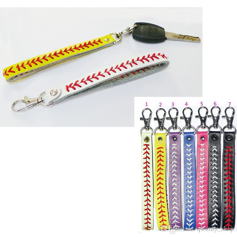 e325030fd Baseball Striped Leather Keychain Sport Seamed Lace Leather Key Chain  Herringbone Softball Fast Pitch Stitch Keyring Party Favor Favors For  Birthday Parties ...