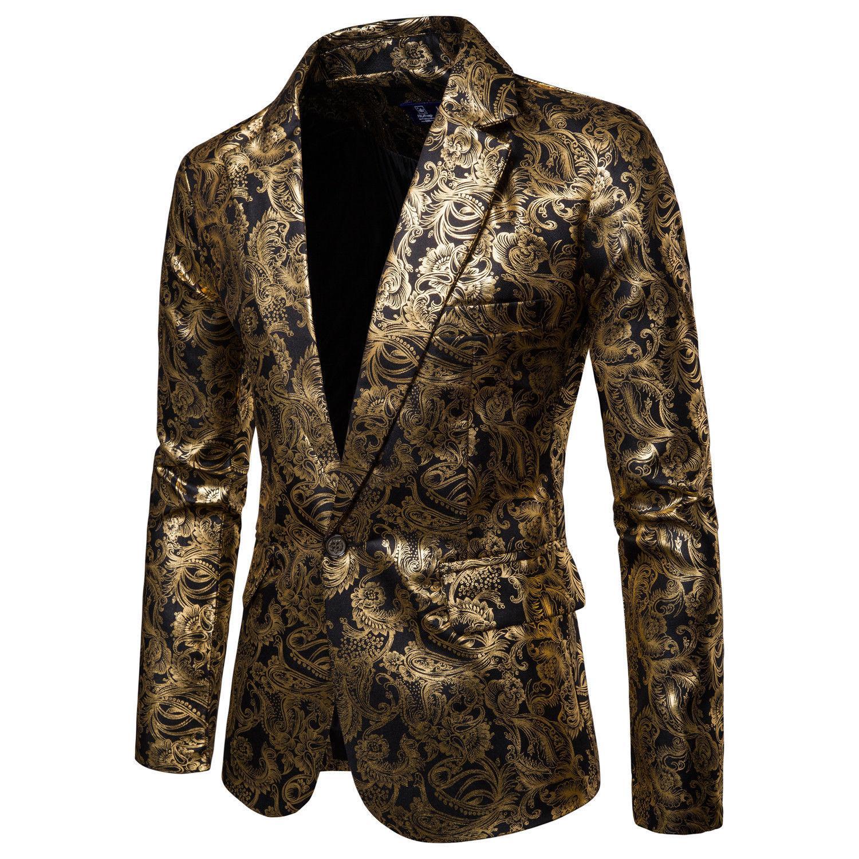 Compre Hombres Un Botón Lámina De Oro Estampado Estampado Dorado Floral  Traje Club DJ Boda Traje Deportivo Slim Fit Formal Hombres Casual Blazer A   55.84 ... 6312dc9384b