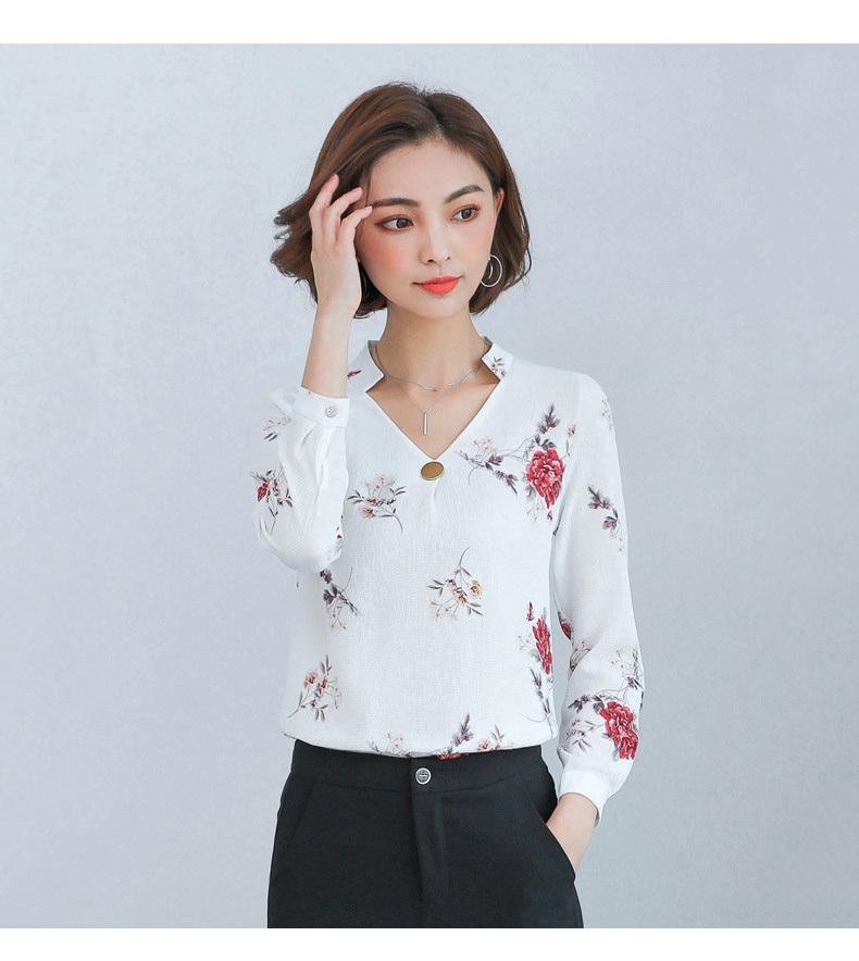 e6faafa1283d Blusa para mujer Camisa de oficina Elegante Gasa Mujeres Tops y blusas  Otoño otoño Manga larga con cuello en v Flor Blusas Mujer K1