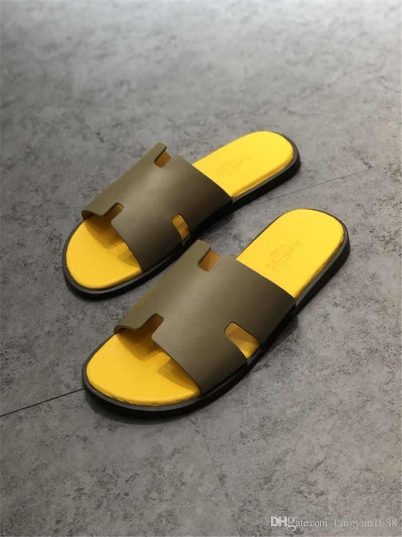 Spring Summer hot sale quality Men Slippers Luxury Designer Shoes Slide Fashion Wide Flat Slippery Sandals Slipper best brand shoes