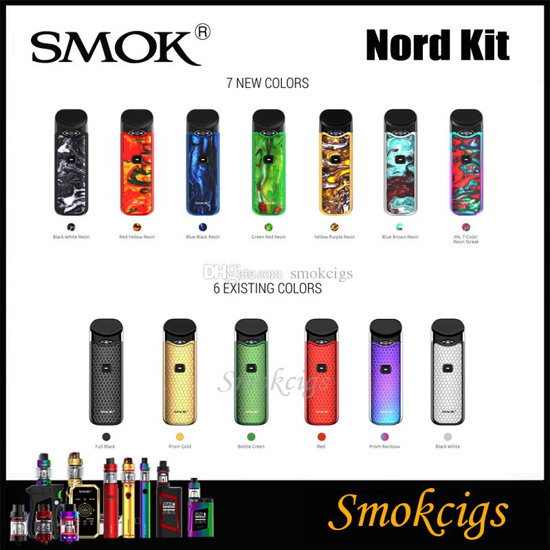 SMOK Nord Kit New Resin Colors 1100mah with Nord Cartridge 3ml Mesh &  Regular Coils for Both Sub-ohm and MTL Vaping E cigs 100% Authentic