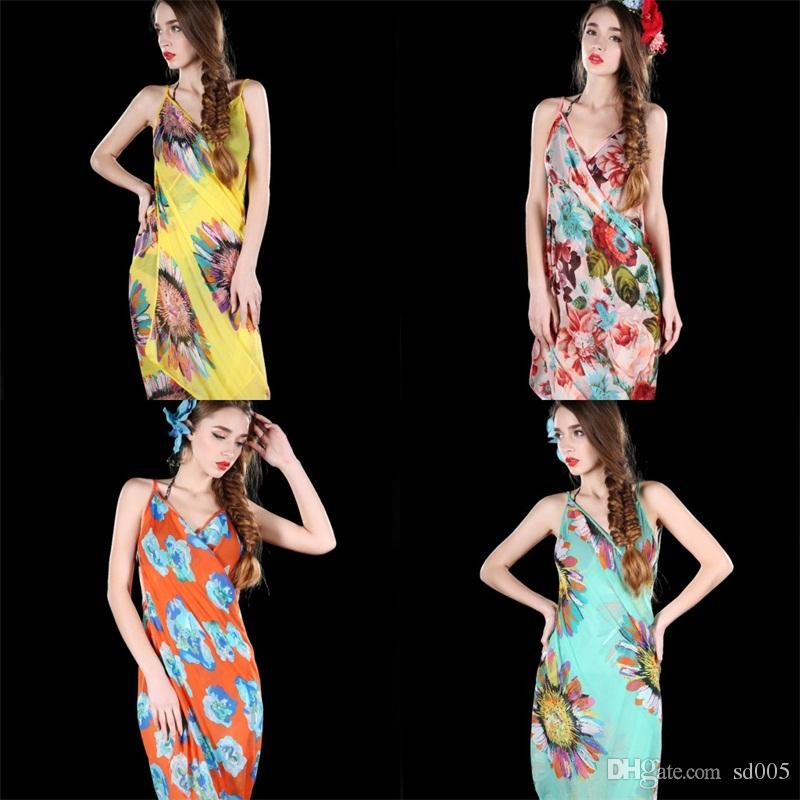 6d7ad2628181a Women Chiffon Beach Dress Backless Bikini Cover Ups Camisole Sunscreen  Scarf Summer Oversized Printing Pink Blue 6 73cd D1 NZ 2019 From Sd005, ...