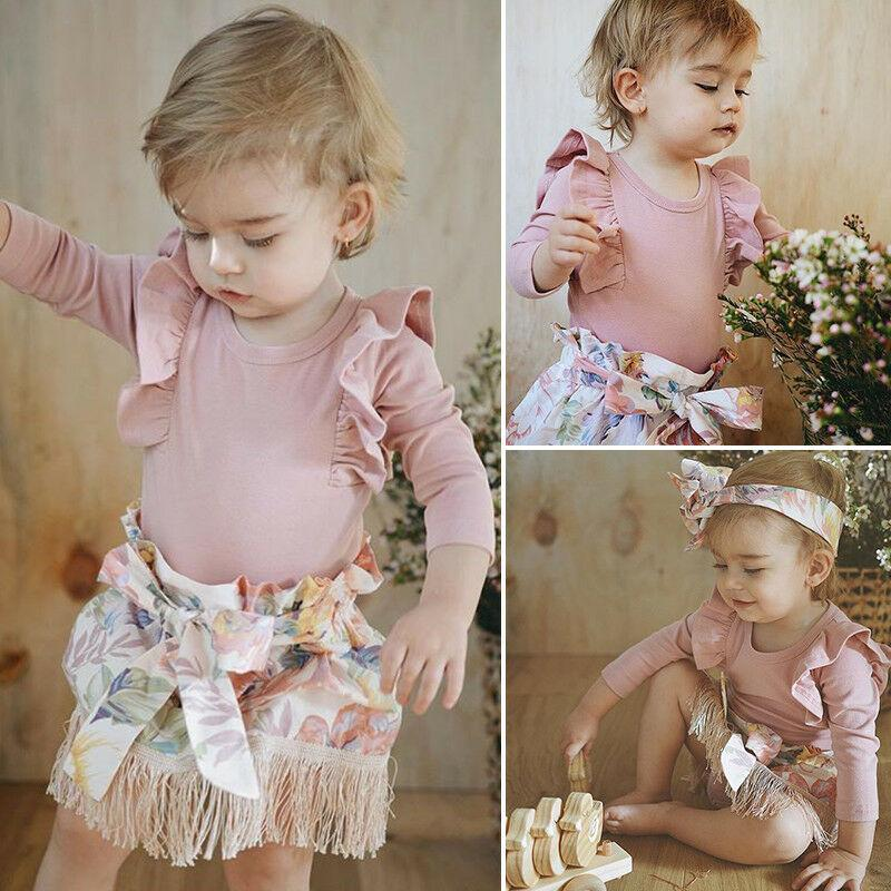 Neonata appena nata 0-18M Ruffle pagliaccetto Flower nappe Gonna 3Pcs Outfits Clothes