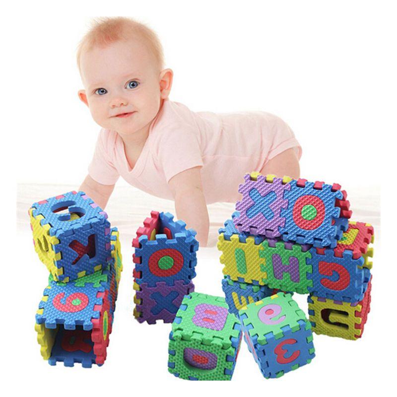 아기 게임 소프트 EVA 폼 패드 알파벳 문자 숫자 바닥 흑인 소프트 베이비 폼 매트 3D 교육 퍼즐 장난감