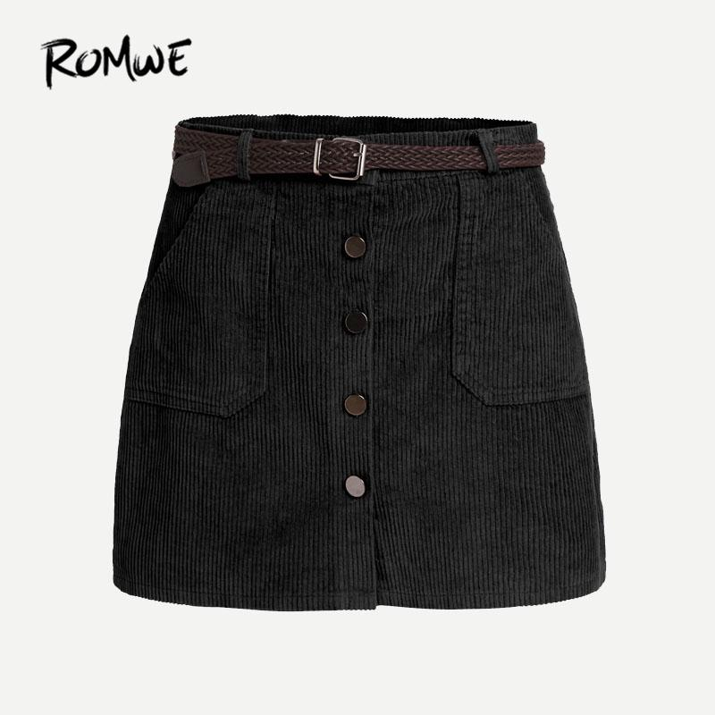 2a87d87def 2019 Romwe Corduroy Single Breasted Skirt With Belt Woman Autumn Mini Plain  Skirts Black Sexy A Line Casual Skirt J190411 From Babala3, $33.15 |  DHgate.Com