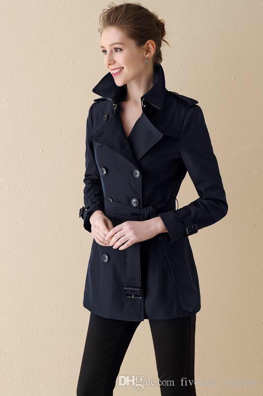 Ofrecer la manera de Inglaterra Mujeres Trench Coat sólido con cinturón Turn-down Collar largo doble de pecho Fosa Delgado Londres Brit viento chaquetas Negro