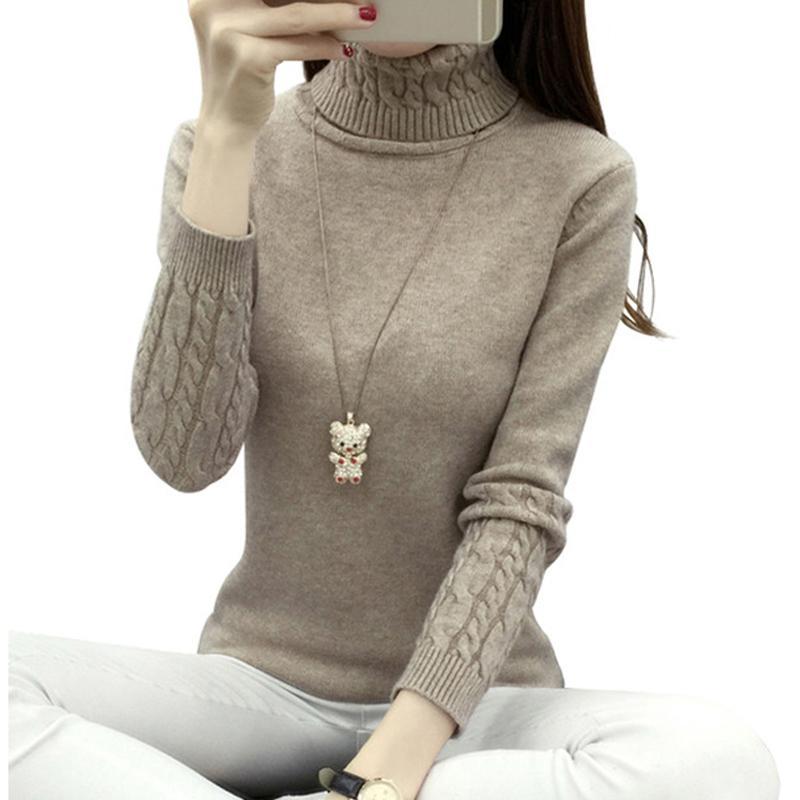 sale retailer 61c22 e687e Dolcevita donna a maniche lunghe 2018 donne inverno maglioni e pullover  maglia manica lunga maglione di cachemire maglione top donna