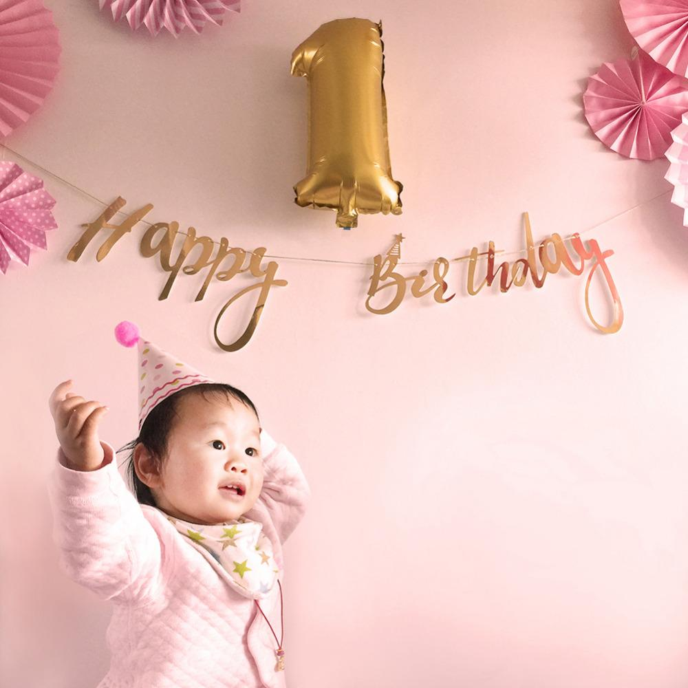 Pink,Gold First Birthday Party Decoration Set Baby Girl Star Circle Garland Foil Latex Balloons Happy Birthday Banner