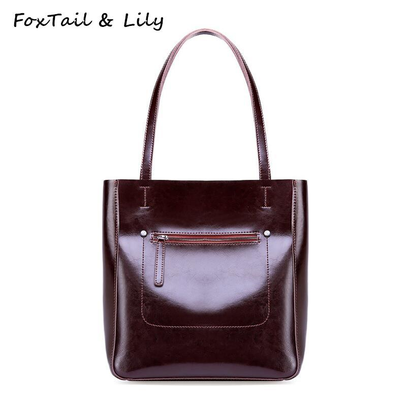7393eed063 FoxTail   Lily Brand Genuine Leather Bag Women Purses And Handbags Luxury  Designer Female Large Tote Shoulder Bag High Quality Black Handbag Purses  ...