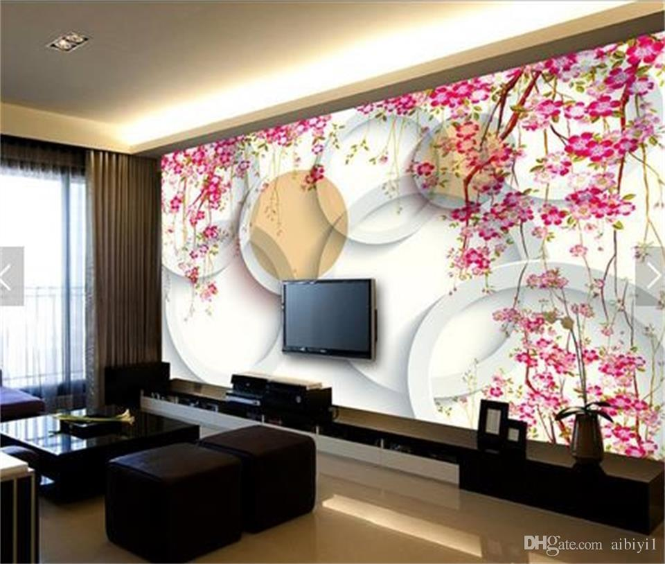 custom size 3d photo wallpaper living room bed room mural cherry blossom 3d circle view picture sofa TV backdrop wallpaper non-woven sticker
