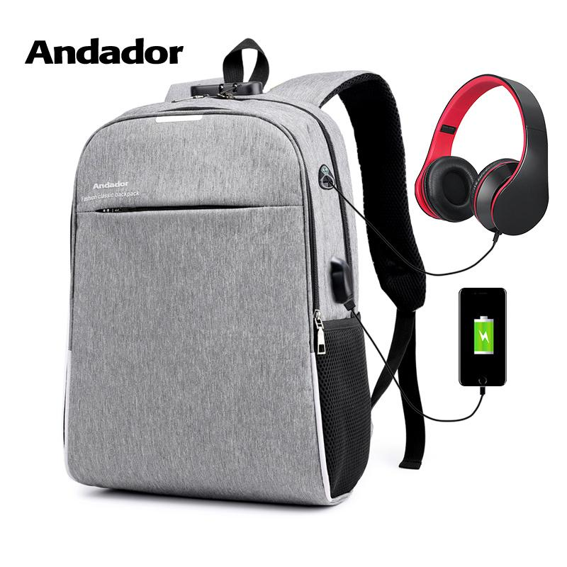 Fashion Large Capacità Uomini 15.6 Pollice Laptop Backpack Leisure Anti Theft Borsa da viaggio per affari Maschio Usb Charging Zaini Y19061102