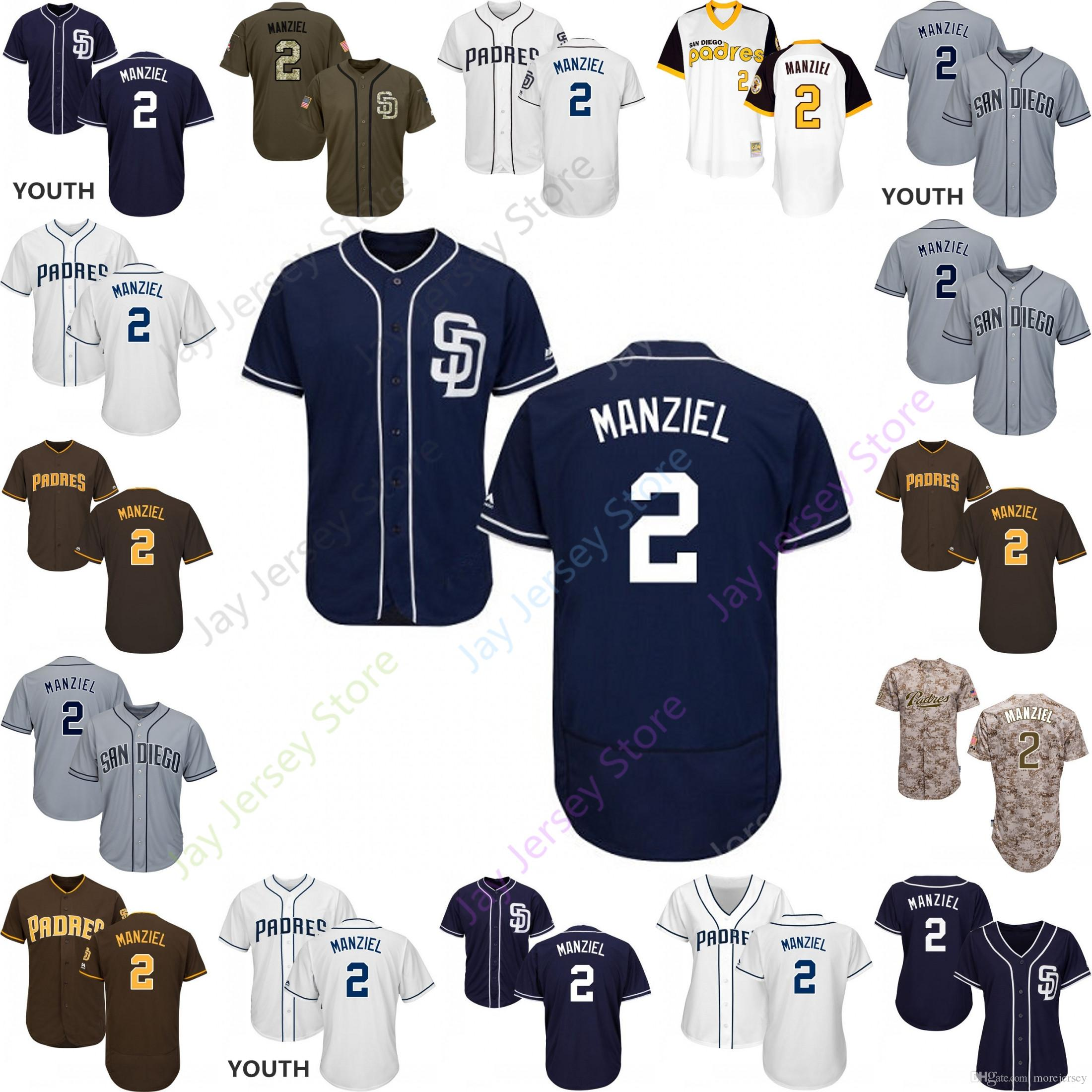 new style 08cbd ac036 2019 San Diego 2 Johnny Manziel Jersey Padres Jerseys Cool Base Flexbase  Home Away White Black Red Grey Pullover Button Men Women Youth