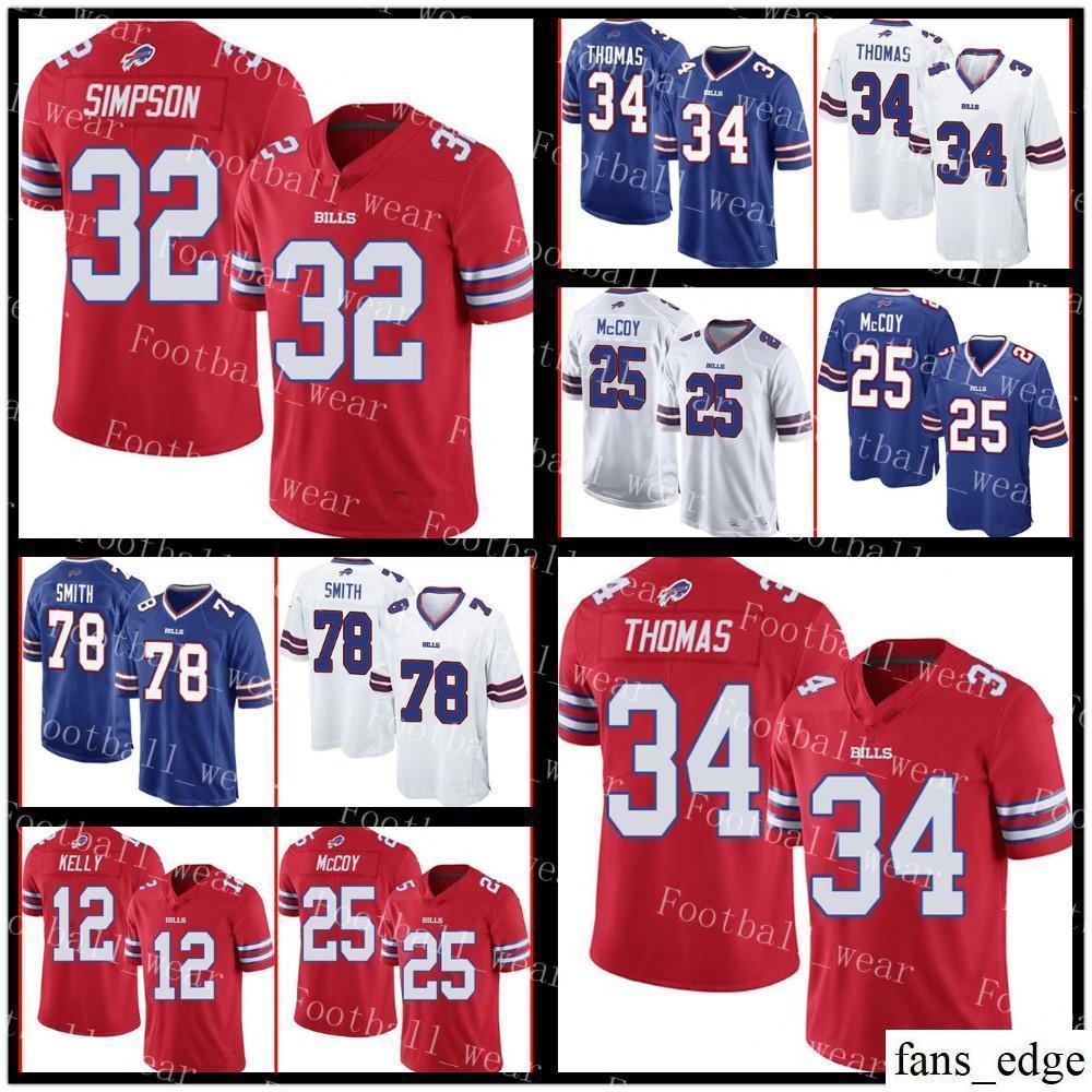 premium selection deb3e 8bef7 Buffalo Jersey 32 O. J. Simpson 95 Kyle William 78 Bruce Smith 12 Jim Kelly  25 LeSean McCoy 7 Doug Flutie 34 Thurman Thomas Bills Custom
