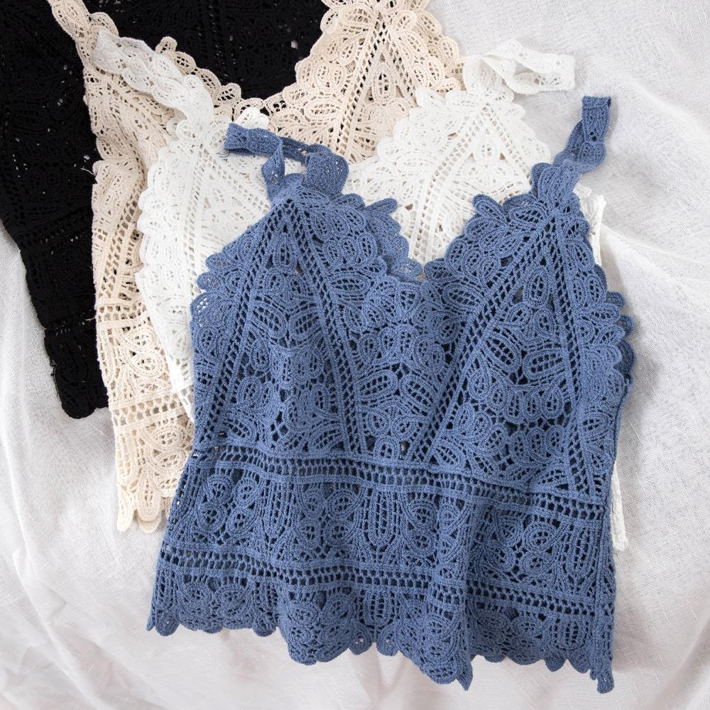 bfa07b4aafa 2019 Women Spaghetti Strap Lace Tank Top Summer Autumn Sexy Slim Knitted  Vest Hollow Out Tops Lady Sleeveless Short Shirts SF1022 From Missar