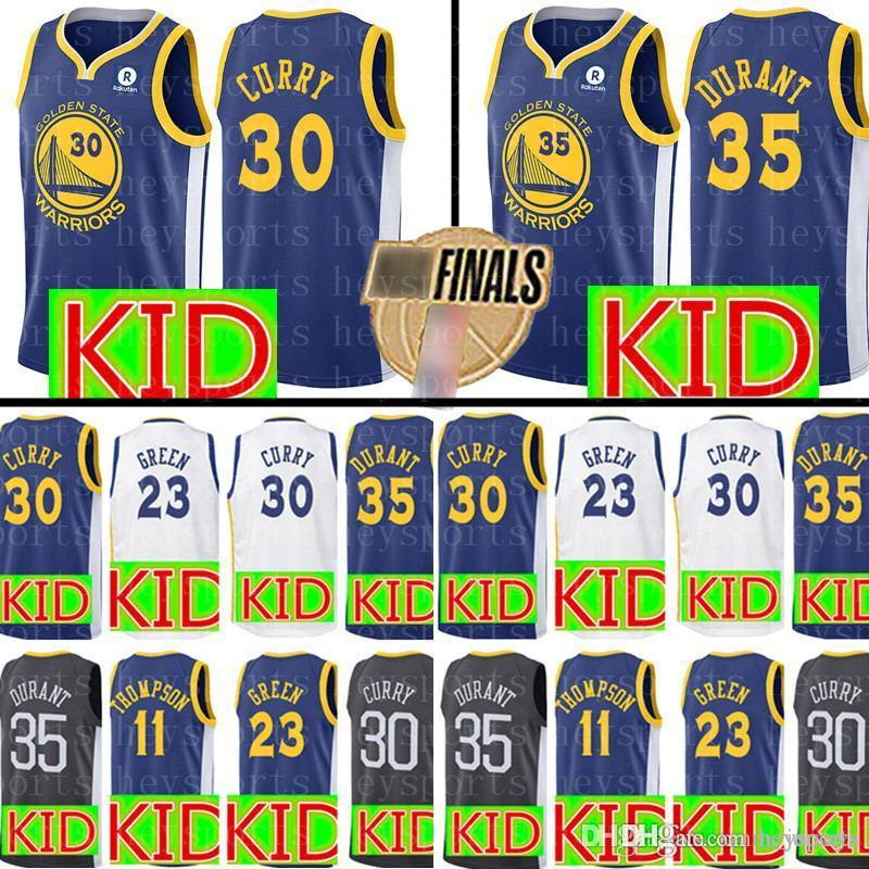 8bd93f327 2018 New KID Curry Golden State Warriors Jersey Top Youth 30 Stephen Curry  35 Kevin Durant 11 Klay Thompson 23 Draymond Green Jerseys From Heysports